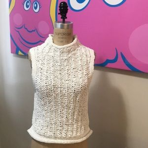 Moth Anthropologie White Hand Woven Summer Sweater